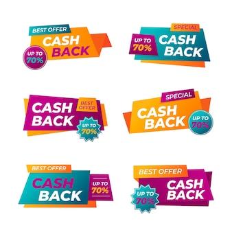 Satz bunte cashback-etiketten