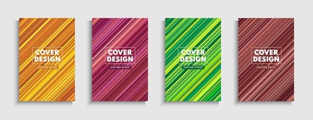 Satz bunte diagonale streifenlinie auf hintergrund. moderne und minimale trendige farbe