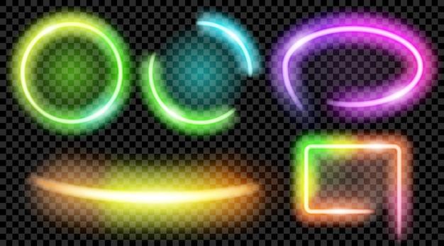 Satz bunte durchscheinende neonrahmen auf transparentem hintergrund. transparenz nur im vektorformat
