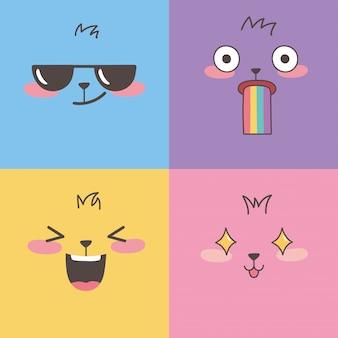 Satz bunte emoticons, emoji steht ausdruckskarikaturentwurf gegenüber