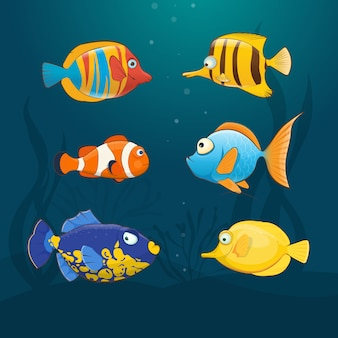 Satz bunte exotische fische unter wasser. illustration im cartoon-stil