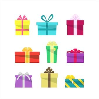 Satz bunte flache geschenkboxen