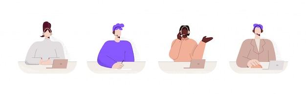 Satz bunte frau call center arbeiter große gliedmaßen art flache illustration
