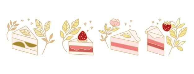 Satz bunte gebäck-, kuchen-, backelemente mit erdbeer- und blattzweig für clipart & logo-design