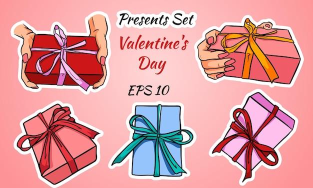 Satz bunte geschenkboxen mit schleifen und bändern. valentinstag. satz von abbildungen.