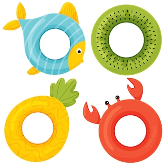 Satz bunte gummischwimmringe. flache art cartoon-ikone