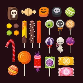 Satz bunte halloween-süßigkeiten für kinder. vektorbonbons verziert mit halloween-elementen.