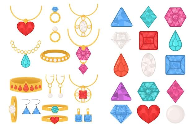 Satz bunte ikonen des schmucks. luxus kostbarer schmuck aus ringen, halsketten, ketten mit anhängern, ohrringen, armbändern, eingelegt mit diamanten, rubinen, perlen und saphiren. abbildung, eps 10