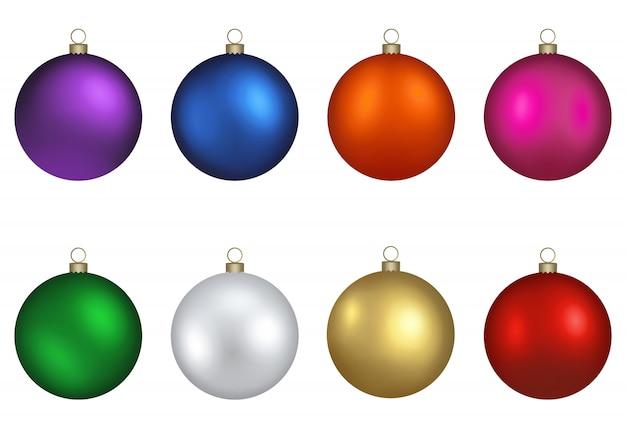 Satz bunte isolierte weihnachtskugeln