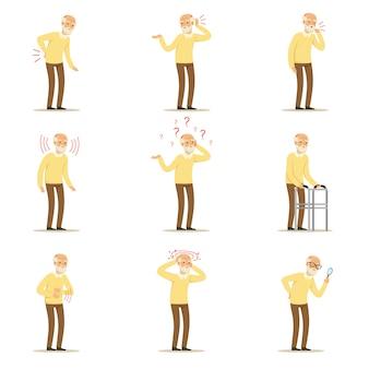 Satz bunte karikatur detaillierte vektorillustrationen lokalisiert auf weiß