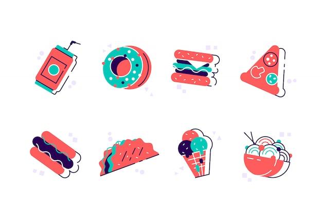 Satz bunte karikatur-fast-food-ikonen. fast food hamburger abendessen und restaurant, leckeres set fast food viele mahlzeiten und ungesunde fast food klassische ernährung. isoliert auf weißem hintergrund in wohnung