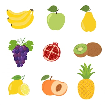 Satz bunte karikaturfruchtikonenapfel, birne, pfirsich, banane, trauben, kiwi, zitrone, granatapfel.