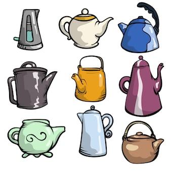 Satz bunte keramik-teekannen und plastik- oder metallkessel