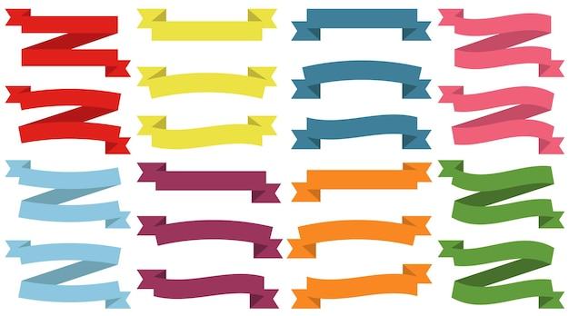 Satz bunte leere bänder und fahnen. bereit für ihren text oder design. isolierte vektor-illustration.
