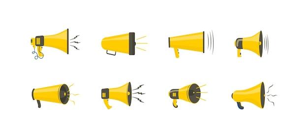 Satz bunte megaphone im flachen design