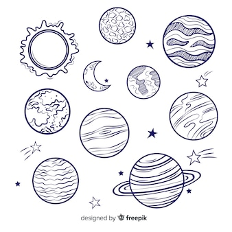 Satz bunte milchstraßenplaneten