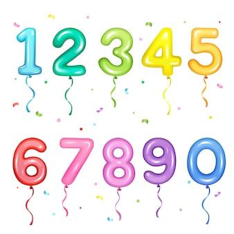 Satz bunte nummerförmige luftballons für geburtstagsfeierdekorationselemente
