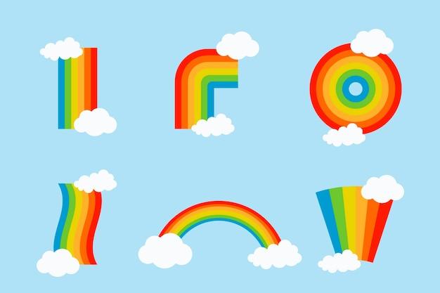 Satz bunte regenbogen mit wolken