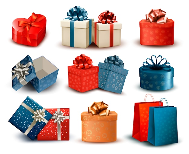 Satz bunte retro-geschenkboxen mit schleifen und bändern. illustration