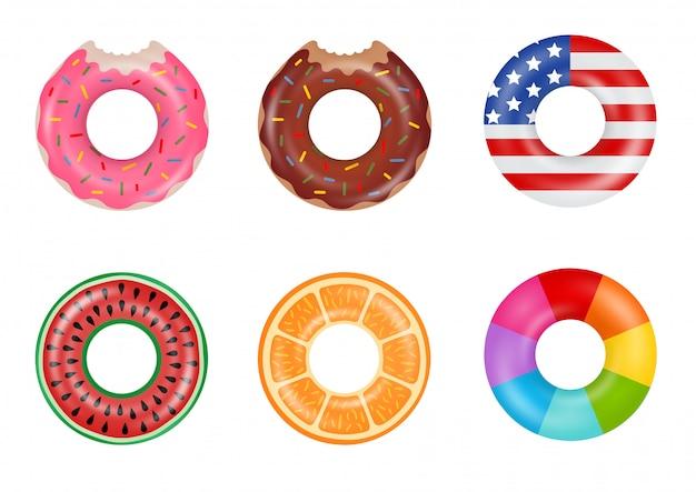 Satz bunte schwimmringe. aufblasbare gummiringe aus donut, amerikanischer flagge, wassermelone, orange und regenbogen. schwimmendes sommerspielzeug.