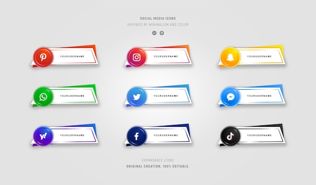 Satz bunte social-media-symbole