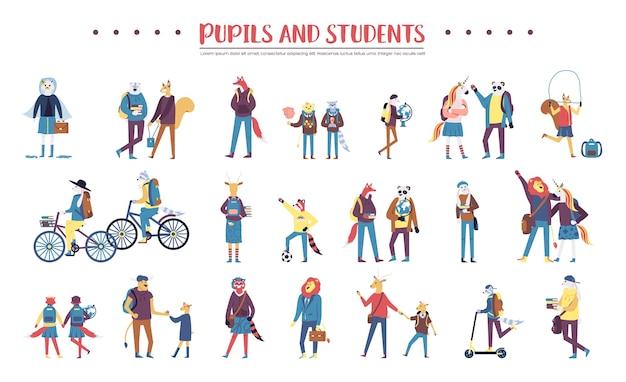 Satz bunte tiere, die schüler und studenten auf weiß sind