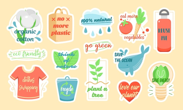 Satz bunte vektoraufkleber von verschiedenen ökologischen symbolen mit inschriften über umweltschutz entworfen als teil der umweltfreundlichen kampagne