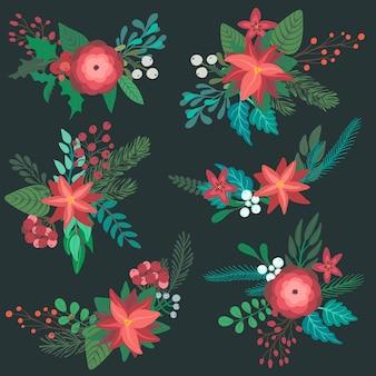 Satz bunte weihnachtsblumensträuße mit winterblumenzweigbeeren