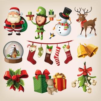 Satz bunte weihnachtsfiguren und dekorationen