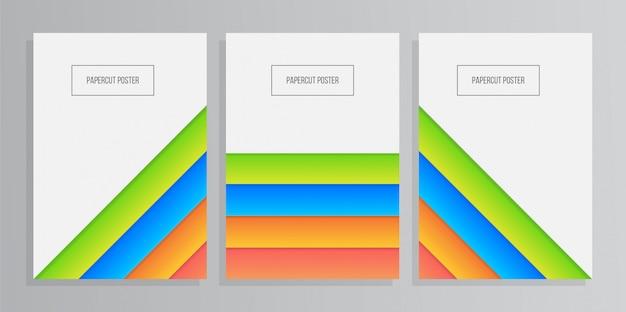 Satz bunter geometrischer papierhintergrund mit papercut art
