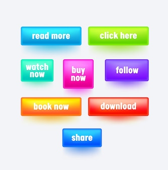 Satz bunter rechteckiger schaltflächen mit farbverlauf für das design der website-oberfläche.