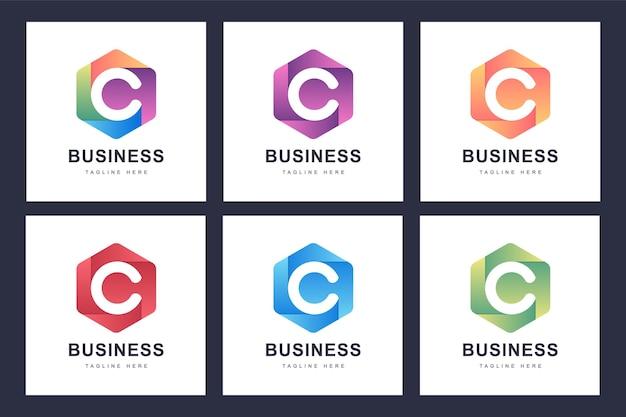 Satz buntes c-buchstaben-logo mit mehreren versionen