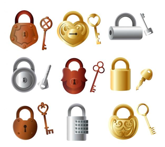 Satz buntes metallvorhängeschloss mit schlüsseln, goldene farbe