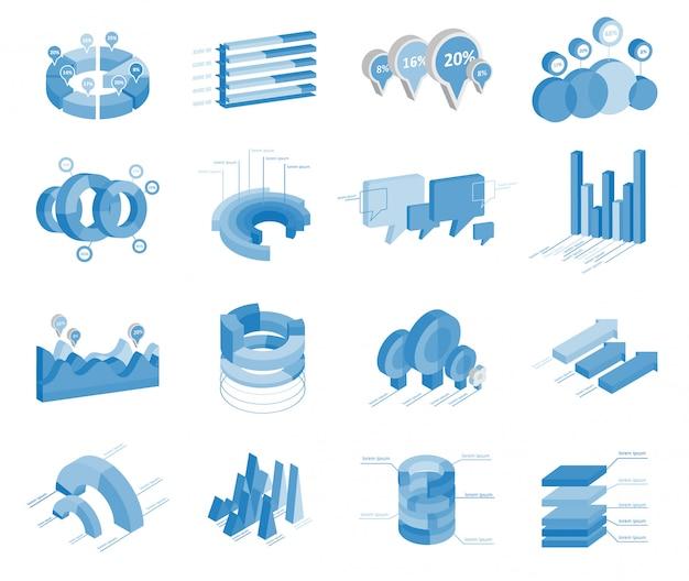 Satz business flat, 3d design graph. infografiken diagramme.