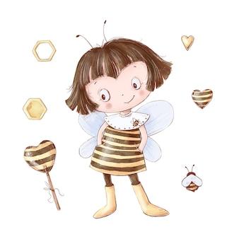 Satz cartoon baby mädchen biene honig süßigkeiten