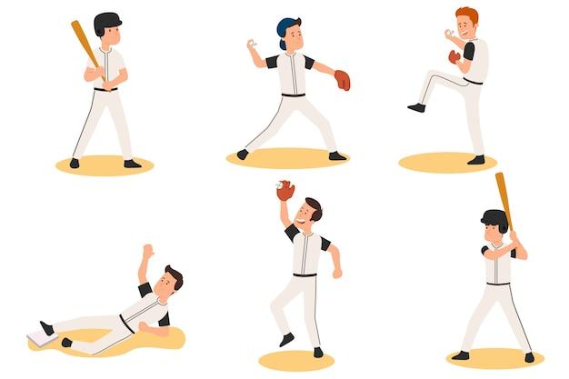 Satz cartoon-baseballspieler. menschen spielen baseball in verschiedenen rollen und posen. illustration.