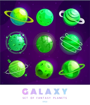 Satz cartoon-fantasy-planeten. buntes universum. spiel für ui-galaxie-spiel.