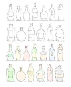 Satz cartoon-gekritzelflaschen.