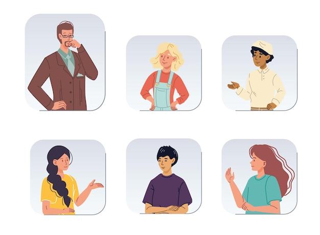 Satz cartoon mädchen junge flache charaktere avatare verschiedener rassen