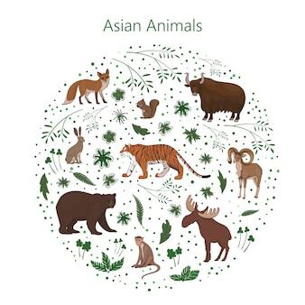 Satz cartoon niedliche asiatische tiere mit blättern, blumen und flecken in einem kreis. hase, fuchs, eichhörnchen, elchbär urial tiger yak makaken