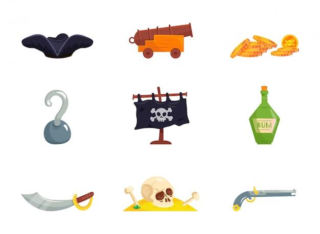 Satz cartoon-piratenelemente