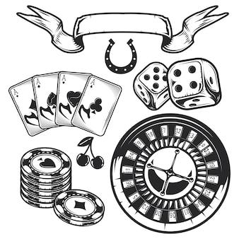 Satz casino-elemente (karten, chips und roulette)
