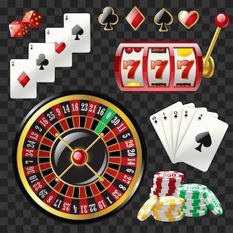 Satz casino-objekte - moderne vektor realistische isolierte clipart auf transparentem hintergrund. spielkarten, 777 slot, roulette, farben, würfel, pokerchips, black royal straight flush. glücksspielkonzept