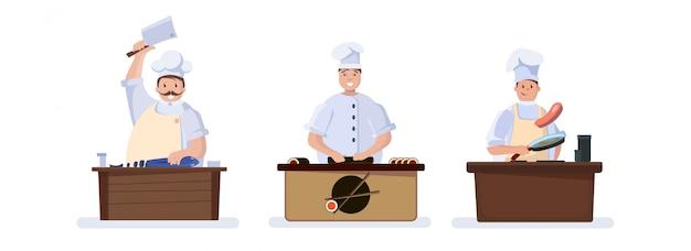 Satz charaktere, die köche kochen.