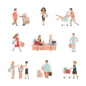Satz charaktere und leute, die einkaufen