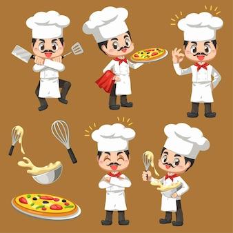 Satz chefkochmann, der die bäckerei im karikaturcharakter, maskottchen im illustrationsdesign für kulinarisches geschäftslogo macht