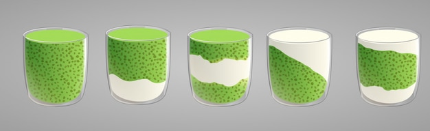 Satz chia samenpudding mit grünem matcha tee.