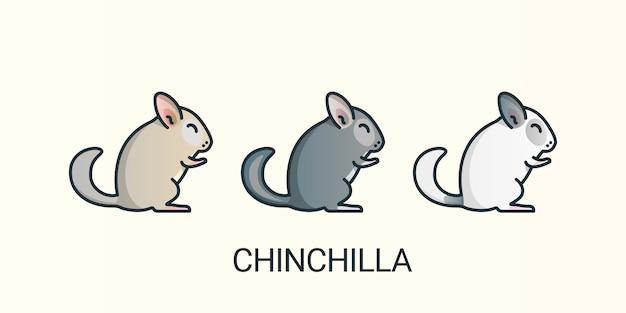 Satz chinchilla-haustiere lokalisiert auf weiß