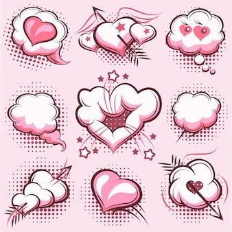 Satz comic-elemente zum valentinstag mit explosionen, herzen und pfeilen in pink. wolken, liebe. vektorillustration