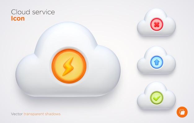 Satz computer cloud-elemente mit transparenten schatten.